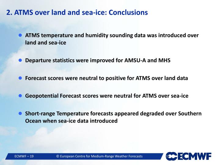 2. ATMS over land and sea-ice: Conclusions