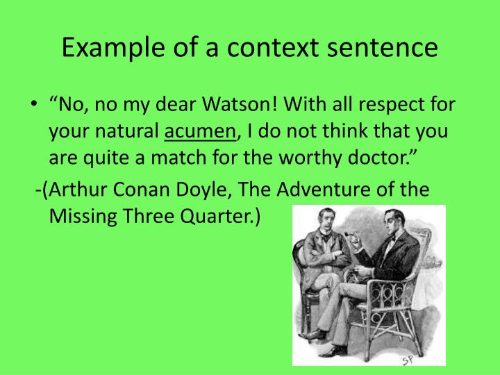 Example of a context sentence