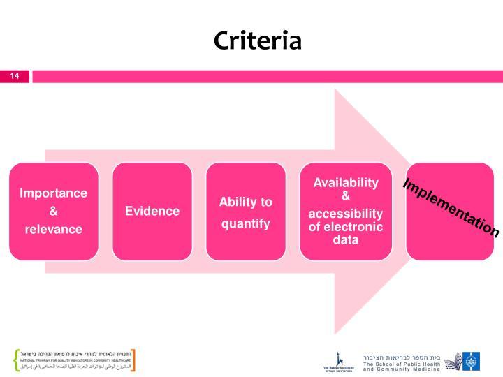 Criteria