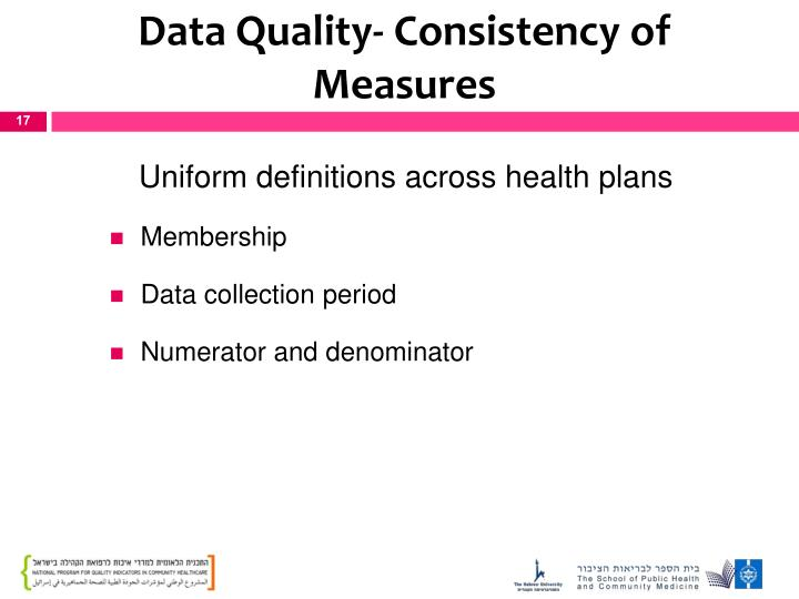 Data Quality- Consistency of Measures