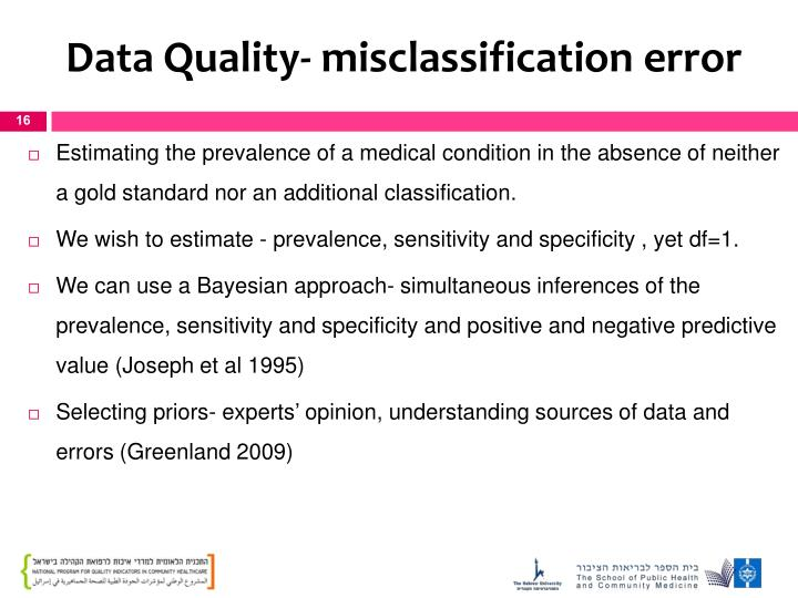 Data Quality- misclassification error