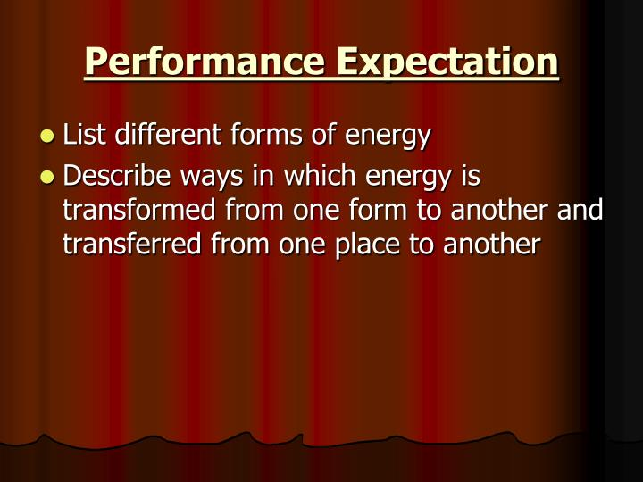 Performance Expectation