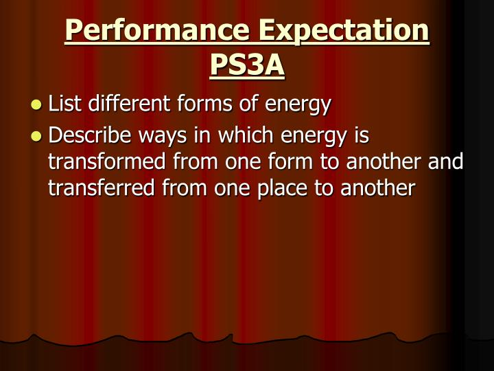 Performance Expectation PS3A