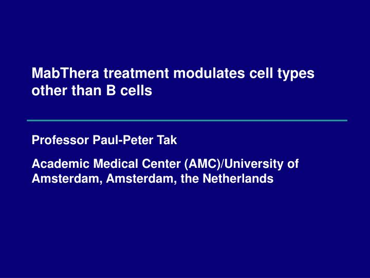 Mabthera treatment modulates cell types other than b cells
