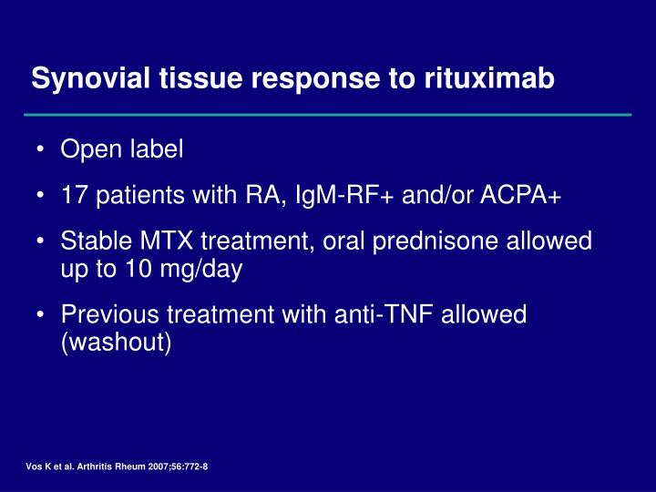 Synovial tissue response to rituximab