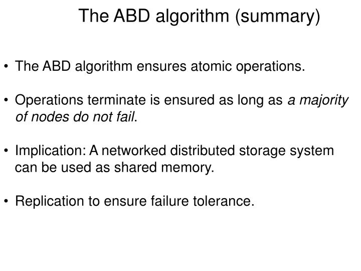 The ABD algorithm (summary)