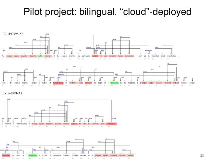 "Pilot project: bilingual, ""cloud""-deployed"