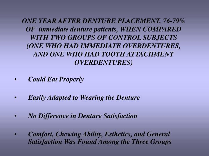 ONE YEAR AFTER DENTURE PLACEMENT, 76-79% OF  immediate denture patients, WHEN COMPARED WITH TWO GROUPS OF CONTROL SUBJECTS (ONE WHO HAD IMMEDIATE OVERDENTURES, AND ONE WHO HAD TOOTH ATTACHMENT OVERDENTURES)