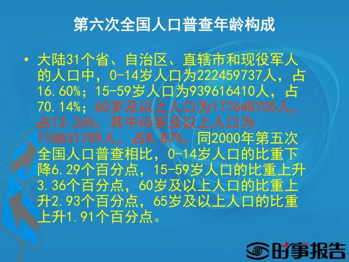 第六次全国人口普查年龄构成