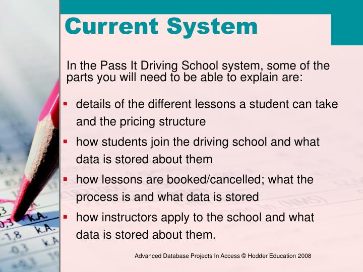 details of the different lessons a student can take and the pricing structure