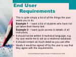 end user requirements