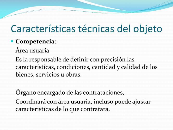 Características técnicas del objeto