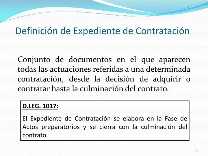 Definición de Expediente de Contratación