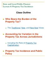state and local public finance lecture 8 property tax incidence