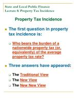 state and local public finance lecture 8 property tax incidence1