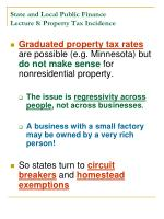 state and local public finance lecture 8 property tax incidence23