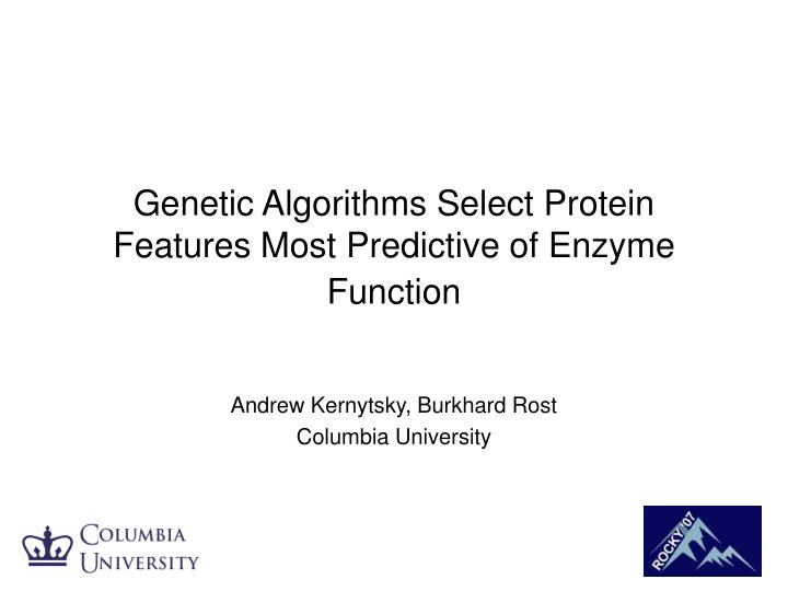 Genetic algorithms select protein features most predictive of enzyme function