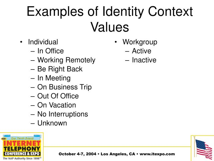 Examples of Identity Context Values