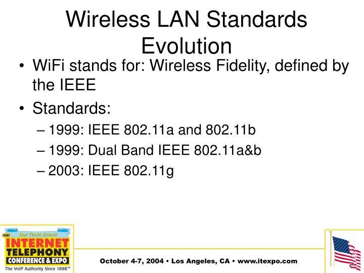 Wireless LAN Standards Evolution