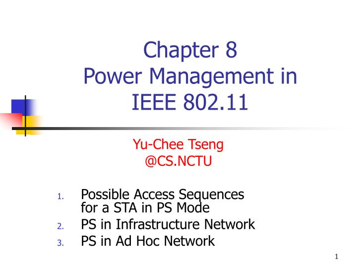 Chapter 8 power management in ieee 802 11