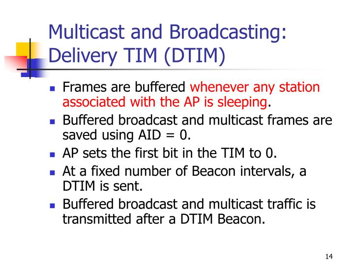 Multicast and Broadcasting:  Delivery TIM (DTIM)