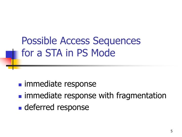 Possible Access Sequences