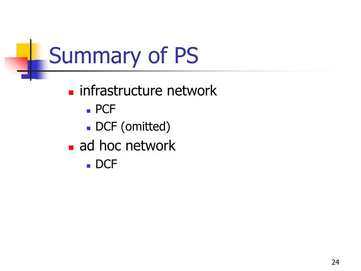 Summary of PS