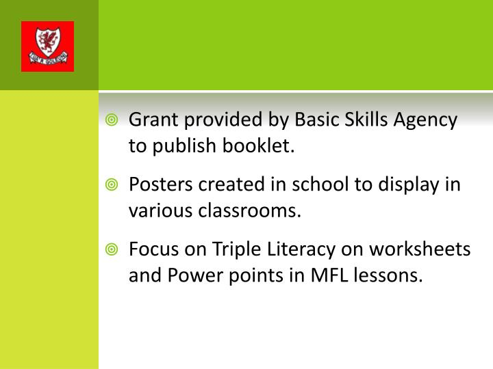 Grant provided by Basic Skills Agency to publish booklet.