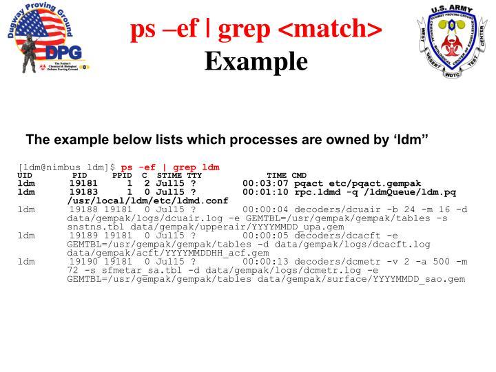ps –ef | grep <match>