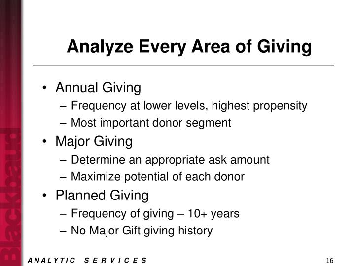 Analyze Every Area of Giving