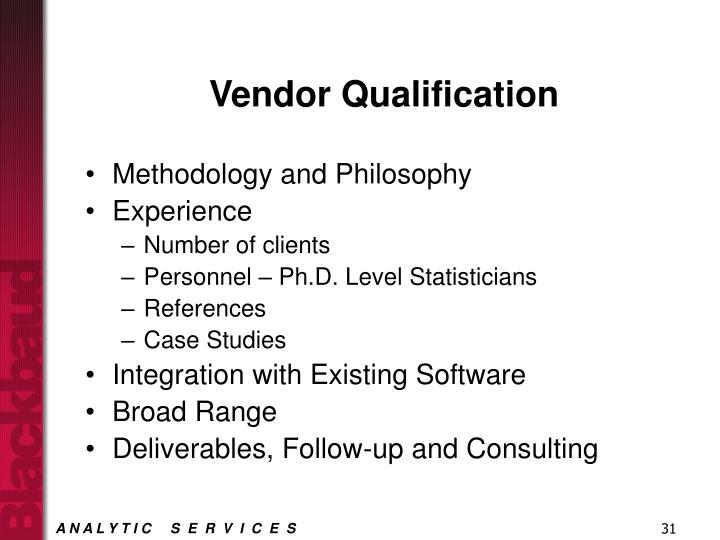 Vendor Qualification