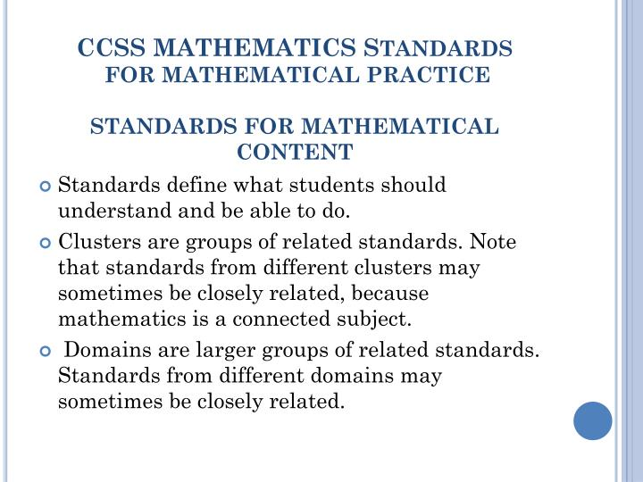 CCSS MATHEMATICS S