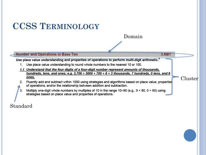 CCSS Terminology