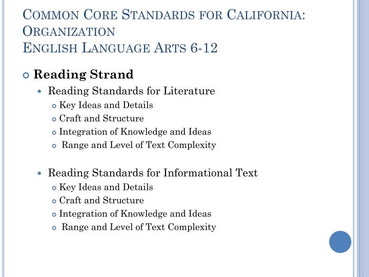 Common Core Standards for California: Organization
