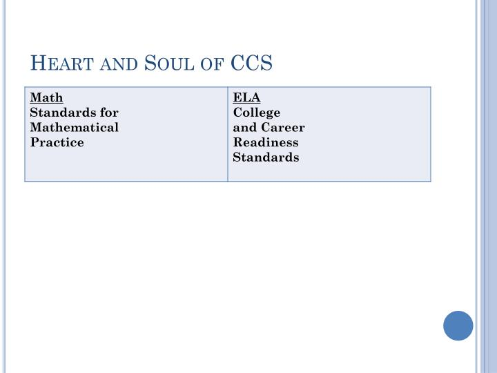 Heart and Soul of CCS