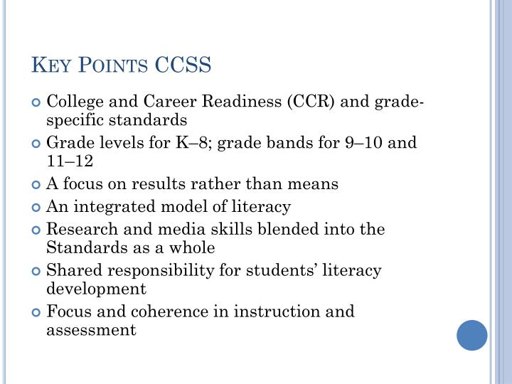 Key Points CCSS