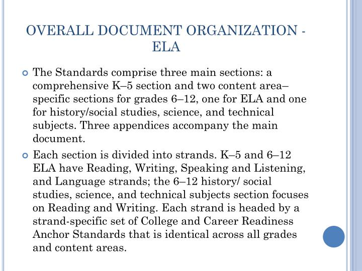 OVERALL DOCUMENT ORGANIZATION - ELA