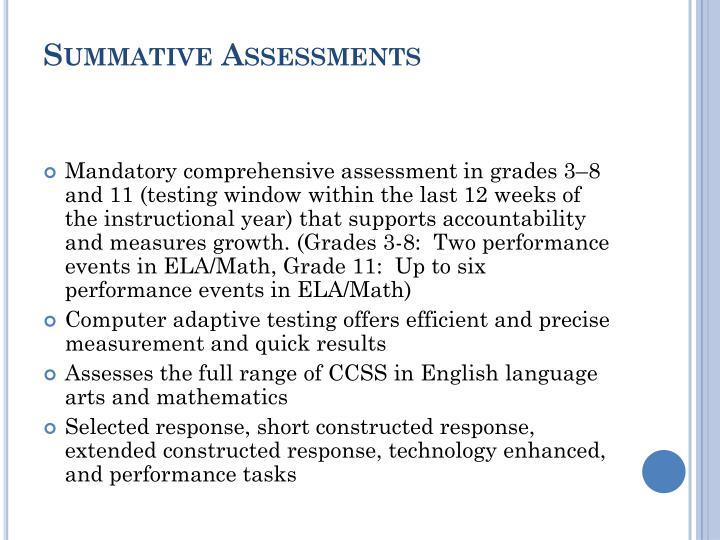 Summative Assessments