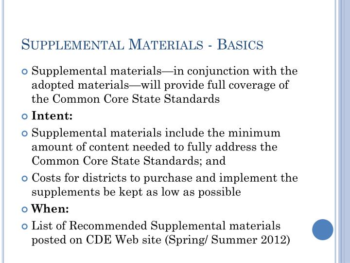 Supplemental Materials - Basics