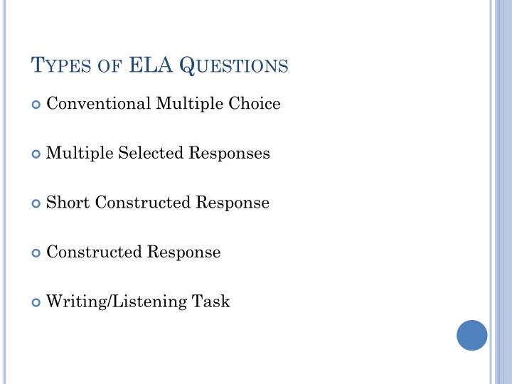 Types of ELA Questions