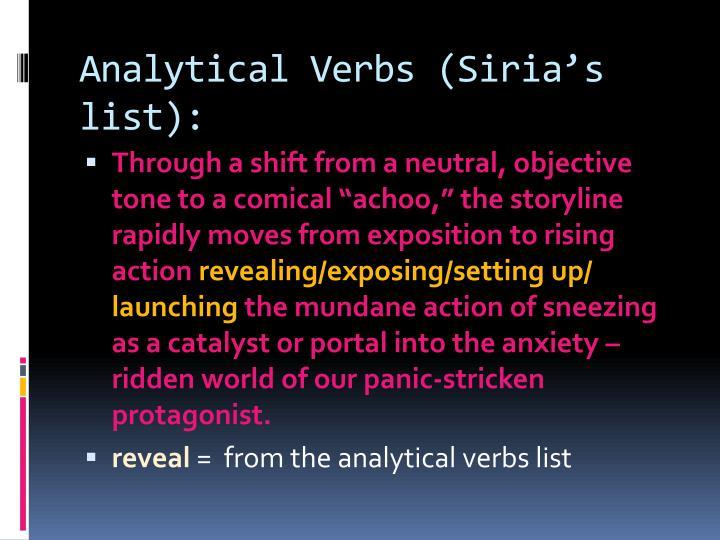 Analytical Verbs (Sirias list):