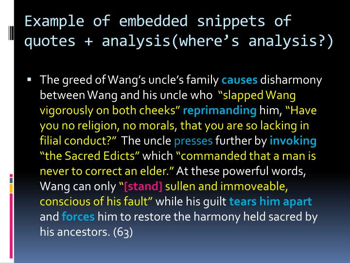 Example of embedded snippets of quotes + analysis(where's analysis?)