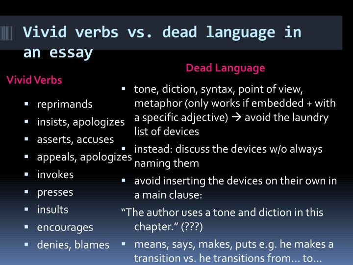 Vivid verbs vs. dead language in an essay