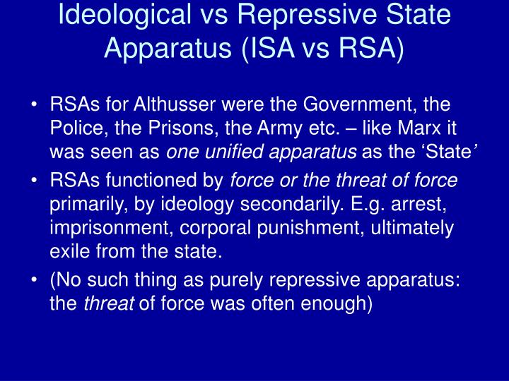 ideology and ideological state apparatuses The first is control through force, the second through ideas or ideology the  repressive state apparatus (rsa) the ideological.
