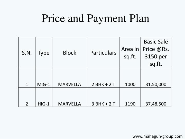 Price and Payment Plan