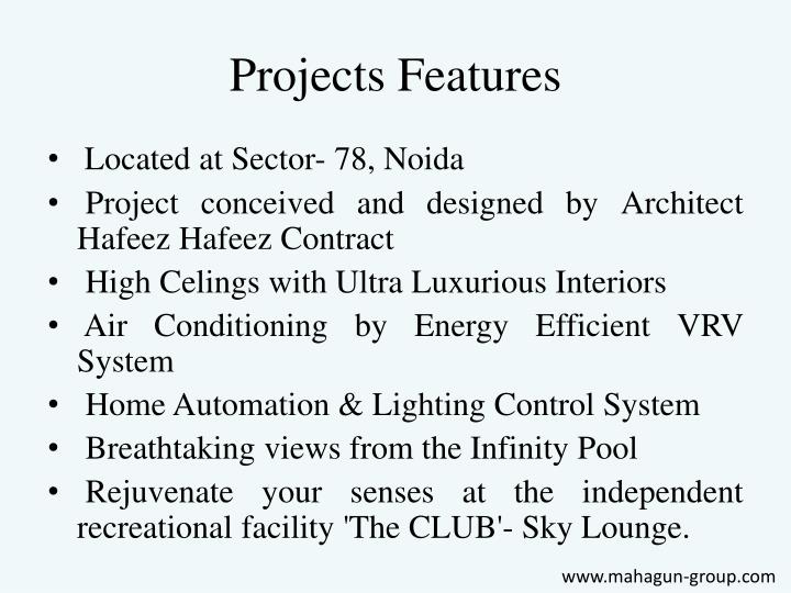 Projects features