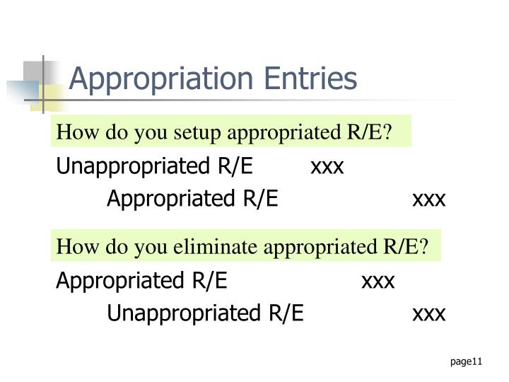 Appropriation Entries