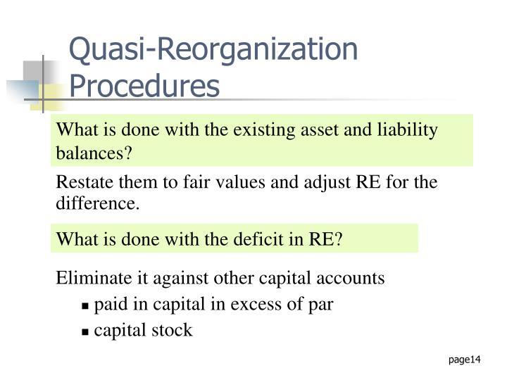 Quasi-Reorganization Procedures
