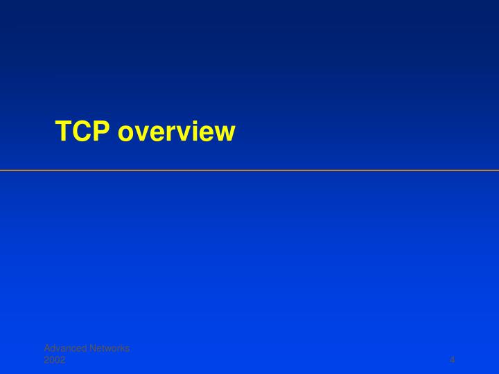 TCP overview