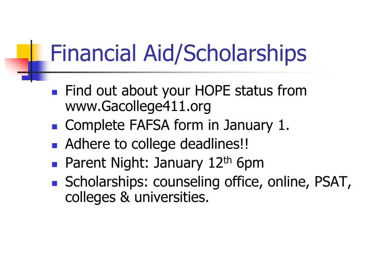 Financial Aid/Scholarships